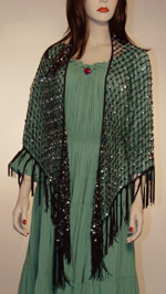 Sequined Triangular Hipscarf and Shawl