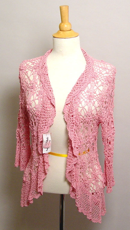 Pink Crocheted & Beaded 3/4 Sleeved Sweater by Susan Collection
